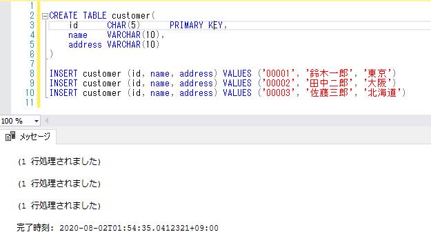 テーブルの作成/データの登録