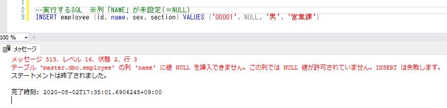 INSERT文の実行(エラー)